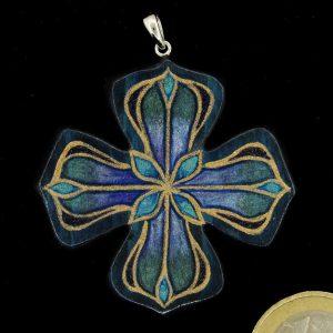 """Produktbild Anhänger """"Französisches Kreuz blau-Türkismetallic"""" - Unikat Nr. 840"""
