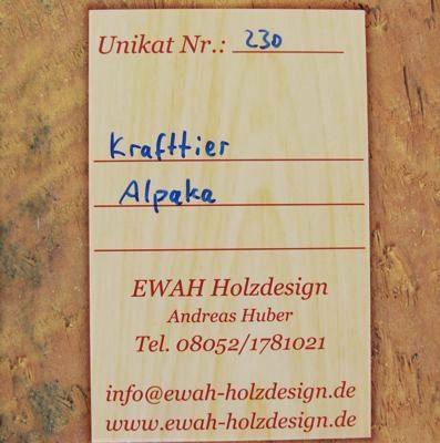 Unikatskarte Rückseite für Amulett Krafttier Alpaka - Unikat Nr. 230