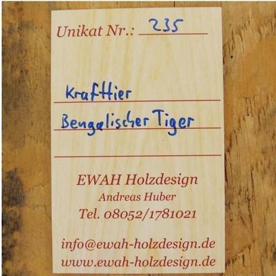 Produkt-Galeriebild Unikats-Karte Rückseite Amulett Krafttier Bengalischer Tiger - Unikat Nr. 235